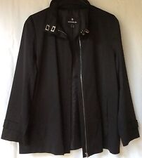women's Savannah Black 55% Cotton Zip Jacket Coat Size 12