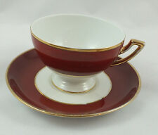 Vtg THOMAS Bavaria Wide Red Band w/ Gold Trim Coffee Cup & Saucer Set MULTIPLE)
