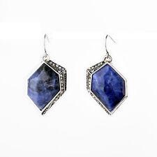Ohrringe Silber hexagonal Sodalith plessite marineblau vintage XX 10