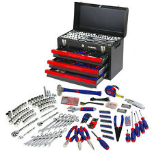 WORKPRO 408PC Handtool Set 3-Drawer Metal Box Repair Tool Kit Mechanics Toolset