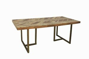 """79"""" L Handmade Indian Solid Wood Dining Table With Iron Legs Foldable"""