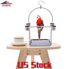 Parrot Perches Stand Platform Pet Stainless Steel Playstand Cup For Bird Cage Us