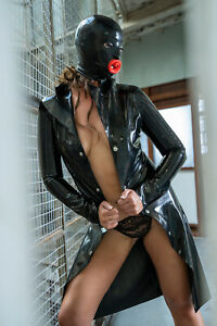 Latex Rubber Hood with Lips ( Pull on Hood in Moulded Latex ) Fetish Gummi Gimp