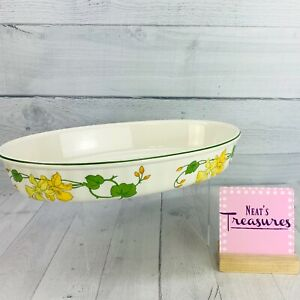 "Villeroy & Boch GERANIUM Yellow Floral Green Campagna Shape Oval 13"" Baker Dish"