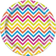 RAINBOW CHEVRON LARGE PAPER PLATE (8) ~ Birthday Party Supplies Colorful Pattern