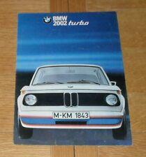 BMW 2002 Turbo Brochure 1974-1976 - UK Market - English Text