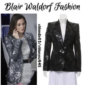 Alice + Olivia black floral brocade blazer S Gossip Girl Blair Waldorf
