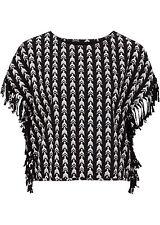 Modische Shirt mit Fransen,Gr.36/38, schwarz bedruckt NEU