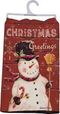 """ CHRISTMAS GREETINGS "" Snowman Dish Towel Kitchen Towel 18"" x 26"""