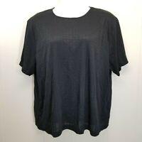 CST Studio 4X Shirt Knit Top Blouse Black Plaid Tee Rayon Blend Plus Size