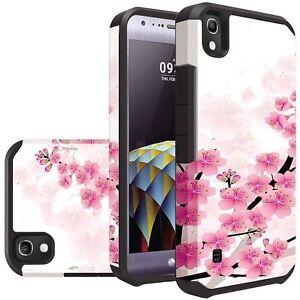 Pink Spring Blossoms Heavy Duty Dual Layer Hybrid Cover for LG Tribute HD LS676