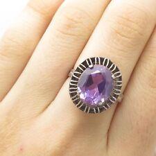 Vtg USSR Signed 875 Silver Real Amethyst Gemstone Wide Ring Size 6