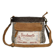 La Farine Barcelonnette Recycled Canvas & Leather Small Shoulder Bag-Tan + Gray