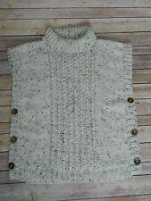 Hand Knit Buttoned Cowl Poncho Jacket Sweater Mary Maxim Aran Irish Tweed SZ S/M