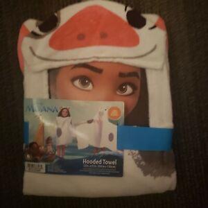 "Disney Moana 100% Cotton Hooded Cape Bath/Pool/Beach Towel NWT 22"" X 51"" (PUA)"