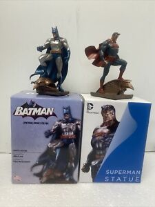 Lot Superman batman Patina Mini Statue Designed By Jim Lee USED & DISPLAYED Nice