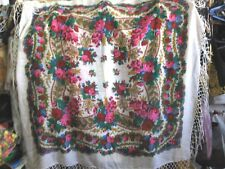Beautiful vintage Russian shawl 100% wool, hand printed