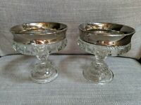 Set of 2 Kings Crown Glass Thumbprint Indiana Candy Dishes Silver Rim Pedestal