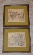 2 Vtg Framed Prints Cedric Emanuel Underwood Street Sydney & Paddington Grocers