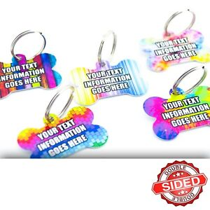 Fun Pet ID Tags Metal Bone Pet Tags Dog Name Discs Personalised Double Sided