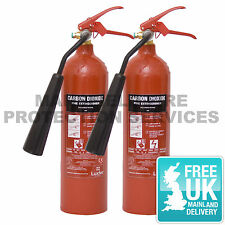 2 x Fire Extinguisher CO2 Carbon Dioxide 2KG with Bracket and FREE DELIVERY