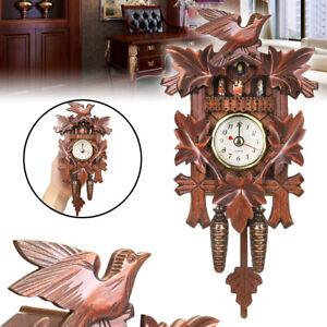 Vintage Cuckoo Clock Swing Wooden Art Wall Hanging Clock Alarm Home Decoration