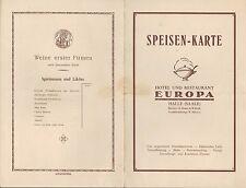 HALLE/SAALE, Speisekarte um 1925, Hotel Restaurant Europa R. Blume & Willrich