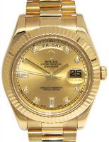 Rolex Day-Date II President 18k Yellow Gold Diamond Dial Mens Watch +Box 218238