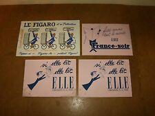 4 anciens buvards années 50's - FRANCE SOIR + ELLE + LE FIGARO ( presse écrite )