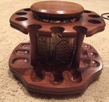 Vintage Decatur Collection Wood 12 Pipe Rack w/ Glass Jar Humidor Spinning