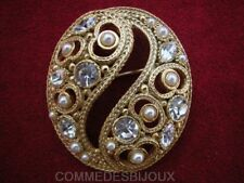 "Broche ""Néo Classique"" style Yin Yang cristal Blanc - Bijoux Vintage Sphinx"