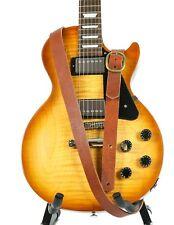 "1 1/4"" Wide Black Cowhide Leather Buckle Guitar Strap"