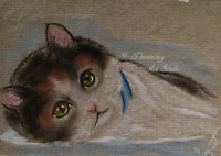 ACEO Calico Cat & Kitten Pets Animal Artwork Pastel Painting Art Holiday Gift