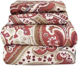 Beautiful Soft  Comfort 4 pcs KING Sheet Set Red Tan Blue Damask