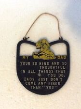 Metal Wall Hanging Sign My Dad Puppy Slippers Vintage Father Plaque Retro