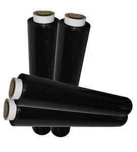 6 x HEAVY DUTY BLACK PALLET WRAP FILM SHRINK WRAP 500MM X 250M 25MU 2000G