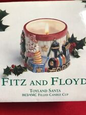 Fitz & Floyd Toyland Santa Ceramic Filled Candle Cup ~ New in Box