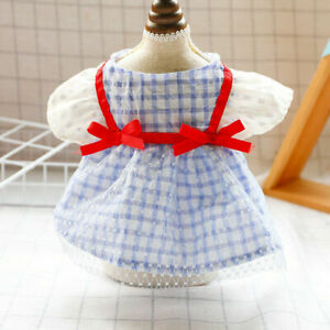 Small Dog Pet Cat Summer Clothes Bow Red Ribbon Blue Grid Skirt Chihuahua Dress