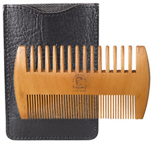 All Natural Pear Wood Beard & Mustache Comb Fine & Coarse Teeth & Pocket Pouch