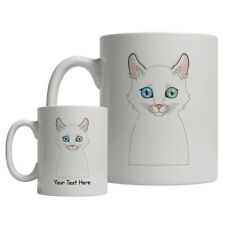 Turkish Angora Cat Cartoon Mug - Personalized Text Coffee Tea Cup