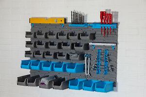 Kleinteilemagazin 44tlg Stapelboxen Wandregal Schüttregal Lochwand Werkzeugregal