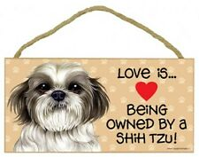 Love is...Being owned by a Shih Tzu Pawprints Heart Dog Sign 5x10 Wood NEW 789