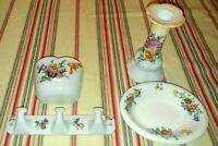 LIMOGES Bathroom wall dish, English soap dish, Towel Rack & Czech Candle Holder