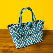HANDMADE WOVEN PLASTIC HAND BAG IN LIGHT BLUE/WHITE SMALL