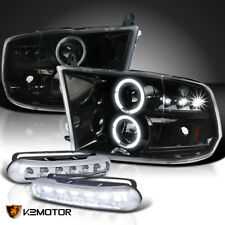 Jet Black 2009-2017 Ram LED Halo Projector Headlights Signal+LED DRL Fog Lamps