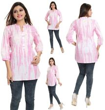 UK STOCK - WOMEN PINK INDIAN COTTON  KURTA KURTI DRESS TUNIC TOP SHIRT MM81