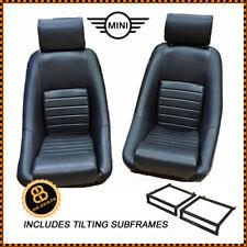 CLASSIC MINI BB1 RS Black Classic Racing Bucket Seats + Tilting Frames Pair