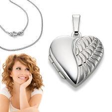 Weiß Gold 585 Foto Medaillon Engel Flügel Herz Amulett Anhänger mit Silber Kette