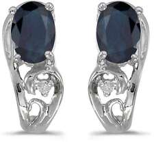 10k White Gold Oval Sapphire & Diamond Earrings E2590W-09