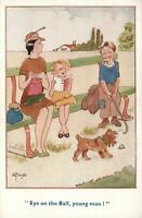 VINTAGE COMIC POSH FAMILY in the PARK, EYES on BALL, YOUNG MAN POSTCARD - UNUSED